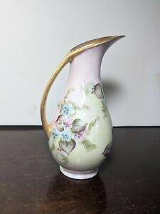 """Vintage  Japan Pitcher Vase / Gold Trim Hand painted Floral  8 1/2"""" signed"""