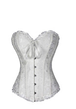 White Bridal Lingerie Lace up Satin Boned Corset Size 20 24
