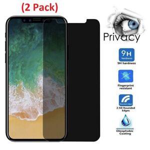 2xNuglas Privacy Glass Screen Protector iPhone X XR 13 12 11 Pro Max Mini 8 7 6+