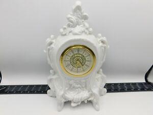 Vintage Lanshire Electric Mantle Clock Narco Movement Works Holland Mold Blue