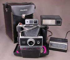 Vtg Polaroid 360 Land Camera-Electronic Flash-Fast Charger 363-Faux Leather Case