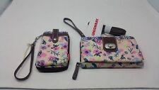 Union Bay Zip Around Wallet Accordian Shoulder Bag & Matching Wristlet Floral