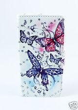 LG H502 magna Case Flip Etui Tasche Hülle Schmetterlinge blau rot