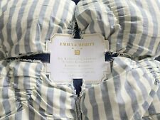 POTTERY BARN TEEN Emily and Meritt Textured chambray Striped Comforter TWIN
