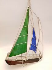 Decorative Stained Glass Sailing Boat Yacht Freestanding Nautical