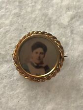 Picture Pin Antique Vintage Retro Old Ww1 Portrait Brooch 1915 Nurse Miniature