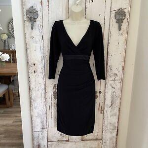 Ralph Lauren Size 10 Woman's Black Silk Trim Sheath Wrap Career Cocktail Dress