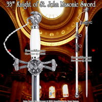 "33"" Templar Knight of St. John Crusader Masonic Ceremonial Sword White Handle"