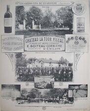 1908 CHATEAU LA TOUR FIGEAC ST EMILION VINEYARD WINERY WINE BY HENRY GUILLIER