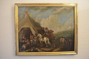 Barockes Oelgemälde 18 Jhd. Reiter mit Pferden bei einer Schänke