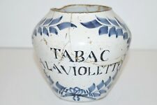 POT A TABAC A LA VIOLETTE XVIIIe céramique décors bleus avec restaurations