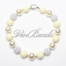 Clear Beige Pearl Beads Gumball Bubblegum Chunky beads Girl Necklace Jewelry DIY