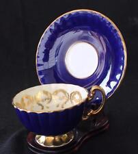 Vntg AYNSLEY Bone China England Cobalt Blue Pink ROSE Pedestal Footed Cup Saucer