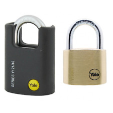 YALE PADLOCK 2 PACK 40MM HIGH SECURITY CLOSED SHACKLE BORON STEEL KEYED ALIKE