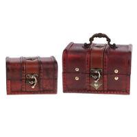 2X Vintage Wood Jewelry Storage Box Treasure Chest Organizer Gift Decor Box
