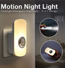 Plug In PIR Motion Sensor LED Night Light Hallway & Emergency Torch