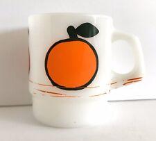 Vtg RARE Fire King Super Fruit Orange Peach Mug Milk Glass Anchor Hocking MCM
