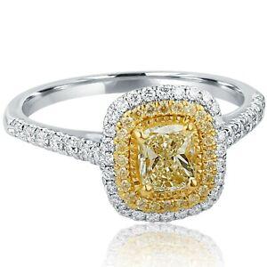 Delicate 1 Carat Diamond Cushion Cut Engagement Ring Double Halo 18k White Gold