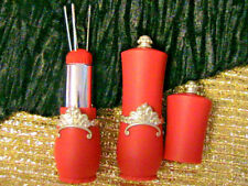 SWEET RED LIPSTICK COMPACT NEEDLE HOLDER PINCUSHION~with 5 hand sewing needles