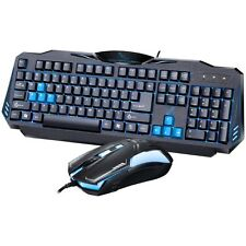 Black Blue LED Backilt Illuminated Ergonomics Gaming Keyboard and Mouse Set