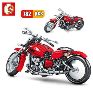 729Pcs Technic Harley Red Motorcycle Bike MOC Model Building Blocks Toys Kids