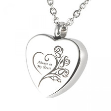 """HOUSWEETY Cremation Jewellery Stainless Steel """"Always in My Heart"""" Urn Pendant"""