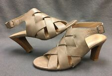 "DRESS BARN TAUPE ""HAILEY"" BROWN HIGH HEEL DRESS SHOES SIZE 9M ANKLE STRAP 9"