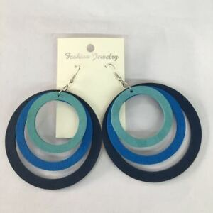 Punk Style Mixed Colors Three Layered Big Hollow Circle Hoop Dangle Earring Lady