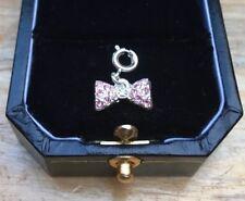Dainty Pink Bow Bracelet Charm/Rhinestone/Sparkly/Clip On/Dangle