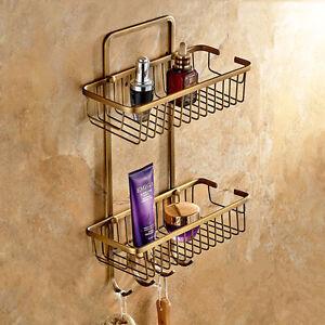 Antique Brass Shower Corner Shelf Wall Mount Bathroom Storage Basket Holder