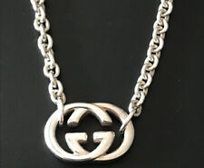 Authentic Gucci Logo Pendant Chain Link Sterling Silver Necklace