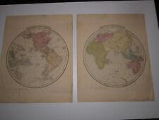 Eastern & Western Hemisphere Maps from Bradford & Goodrich Atlas 1841