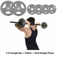CAP 5 Ft Barbell Weightlifting Bar W/ Collars and 60 lb of Weight Plates 71.5 lb