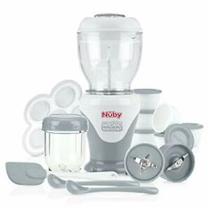 Nuby Mighty Blender with Cook Book 22-Piece Baby Food Maker Set Cool Gray