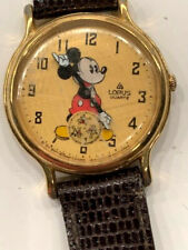 Vintage Lorus Mickey Mouse Watch V803-0110 Large 31mm Gold Plated Case