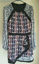 BCBG Women's Max Azria Tallulah Paisley Dress Size 6 A Line Long Sleeve Black