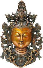 """Brass Indian Handicraft Goddess Buddha Maa Tara Mask Wall Décor Hanging 12"""""""