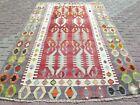 "Antique Rug, Turkish Kilim, Red Color Rug, Wool Rug, Carpet, Large Rugs 76""X113"""