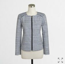 J. Crew Factory Small Jacquard Jacket Blue White Full Zip Cotton Blend $138