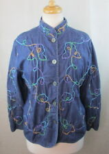 NAPA VALLEY WOMENS PETITES LARGE PL JEAN JACKET DARK WASH EMBROIDERED DESIGN
