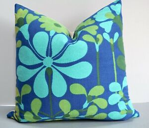 Vintage Heals 1960s Cushion Cover in Florentina by Jyoti Bhomik Blues/Greens