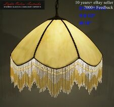 TIFFANY STAINED GLASS ELEGANT BEADED FRINGE PENDANT LIGHT