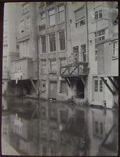 Glass Magic Lantern Slide CANAL SCENE AMSTERDAM NO2 C1910 PHOTO NETHERLANDS