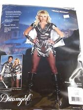 Medium Women's Black Silver Warrior Costume Cosplay Halloween Party Sexy