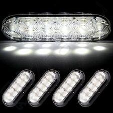 """Set of 4 Surface Mount 6"""" Oval White 10 LED Reverse Backup Trailer Truck Light"""