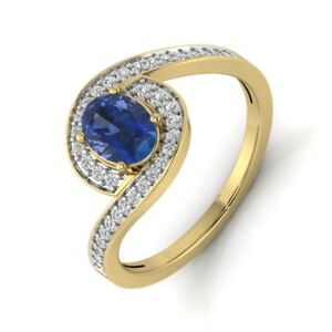 1 CT Oval Cut 14k Solid Yellow Gold Blue Zircon Diamond Engagement Ring