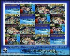GRENADA GRENADINES WORLD WILDLIFE FUND LOBSTER SCOTT#2727 SHEET OF 16  RARE IMPF