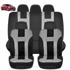 NEW GRAY & BLACK POLY AIRBAG READY SEAT COVERS COMBO 9PC SET FOR CARS 2125