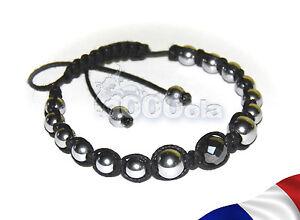 BRACELET STYLE Tibétain Perles HEMATITE couleur argent +fil Coton NOIR 1000ola