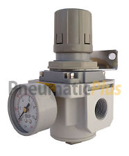 "3/4"" NPT Air Compressor Pressure Relief Regulating Regulator w/ Gauge & Bracket"